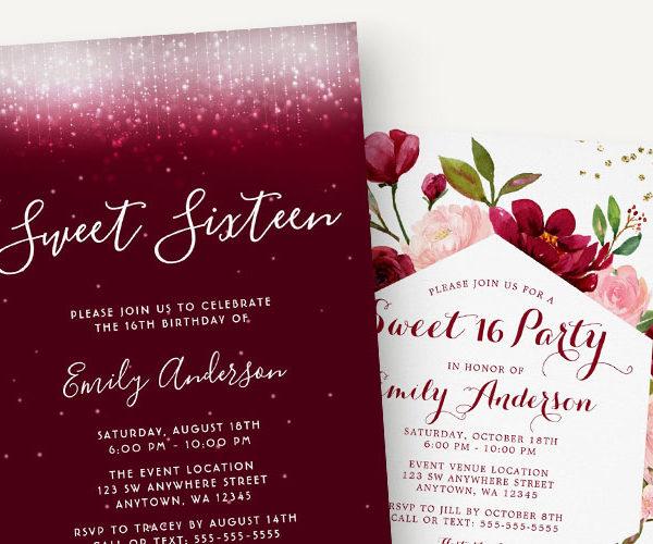 Elegant Burgundy Sweet 16 Invitations