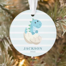 Dinosaur personalized kids Christmas ornament