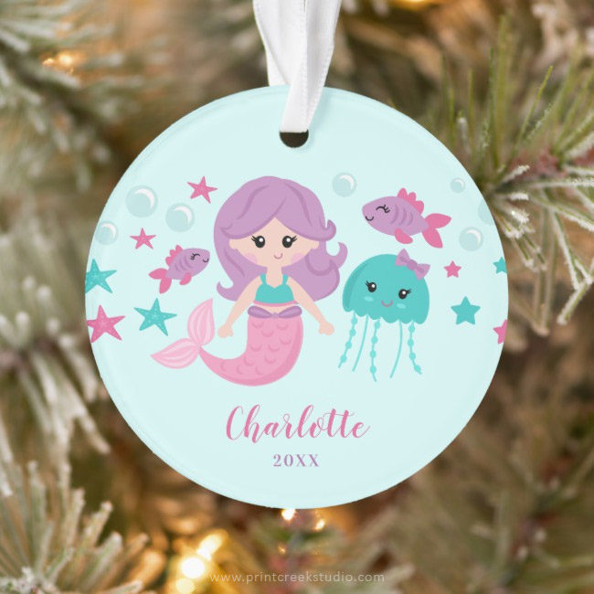 Cute Mermaid Personalized Girl Christmas Ornament
