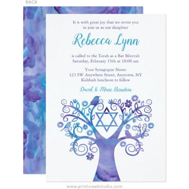 Purple Teal Watercolor Tree of Life Bat Mitzvah Invitations