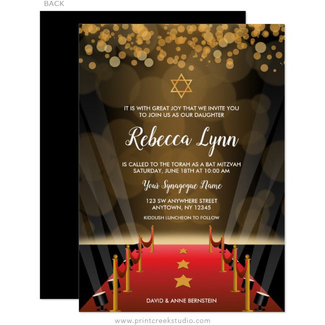 Red Carpet Star Hollywood Bat Mitzvah Invitations