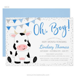 Blue Oh Boy Cow Baby Shower Invitations