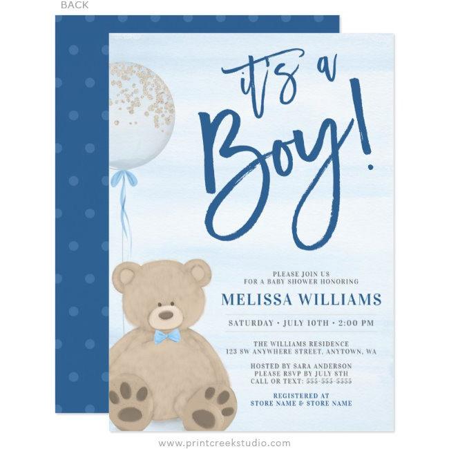 Boy Teddy Bear Blue Balloon Baby Shower Invitations