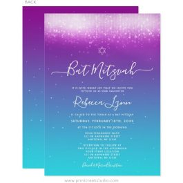 Glam Purple Teal Bat Mitzvah Invitations