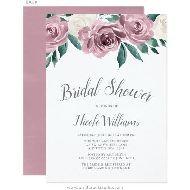 Mauve Watercolor Roses Floral Bridal Shower Invitations