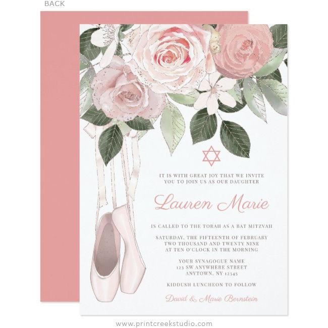 Pink Floral Ballet Bat Mitzvah Invitation