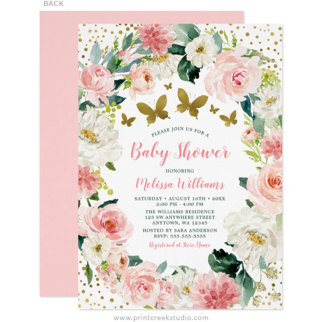 Pink Gold Floral Butterfly Girl Baby Shower Invitations
