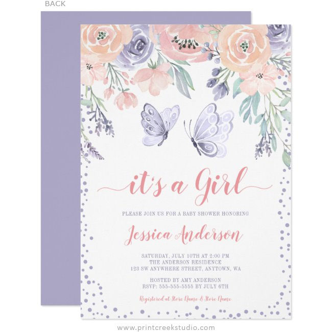 Pink Purple Floral Butterfly Girl Baby Shower Invitations