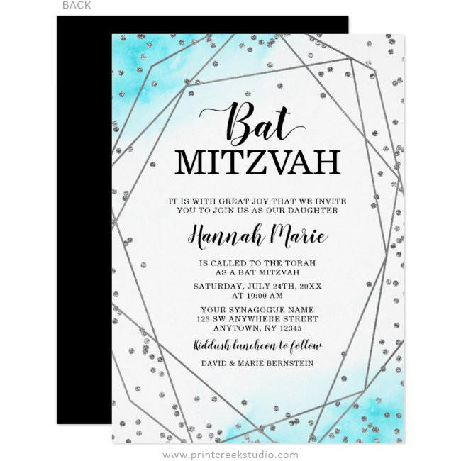 Teal Silver Faux Glitter Geometric Bat Mitzvah Invitations
