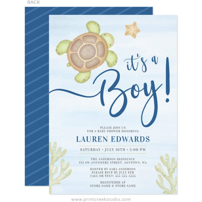 Watercolor Sea Turtle Boy Baby Shower Invitations