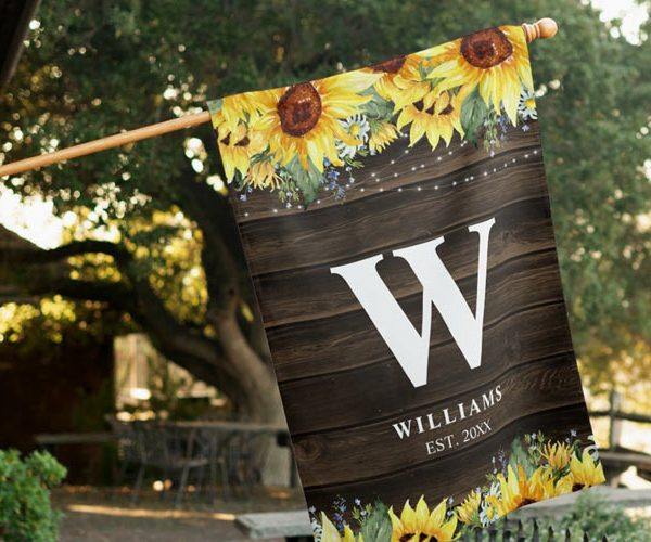 Rustic Floral Personalized House Flags