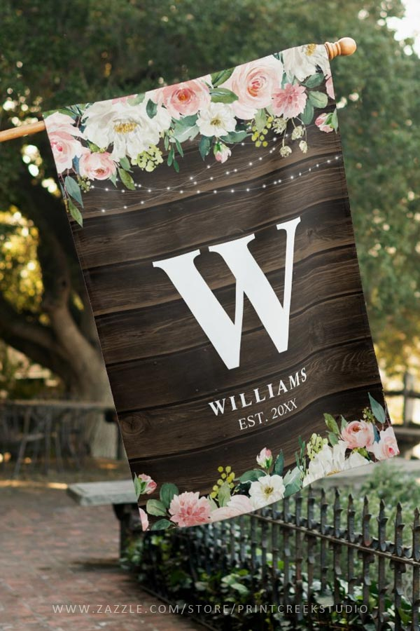 Rustic Pink Floral Personalized House Flag