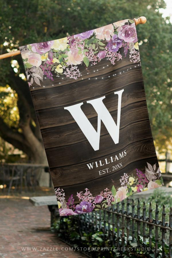 Rustic Purple Floral Personalized House Flag