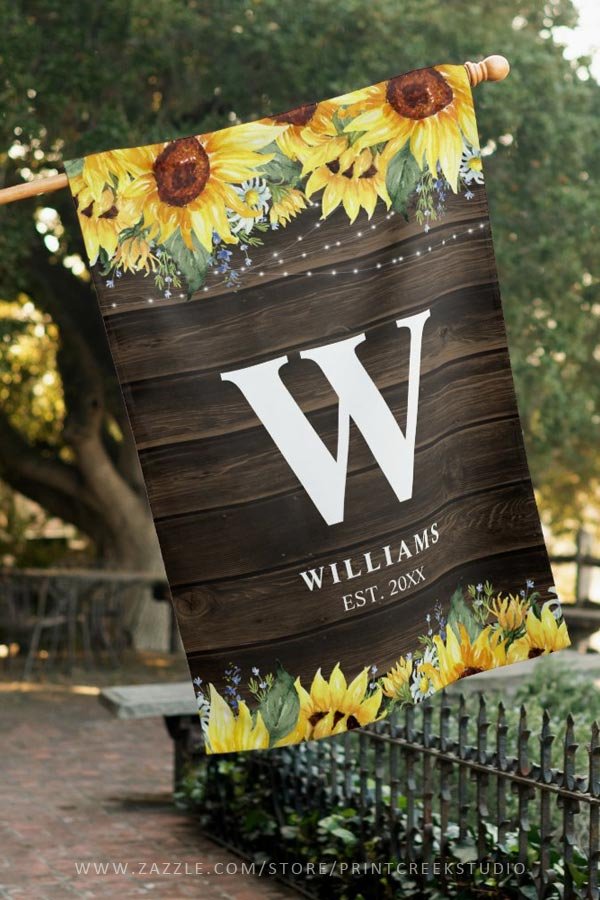 Rustic Sunflower Floral Personalized House Flag