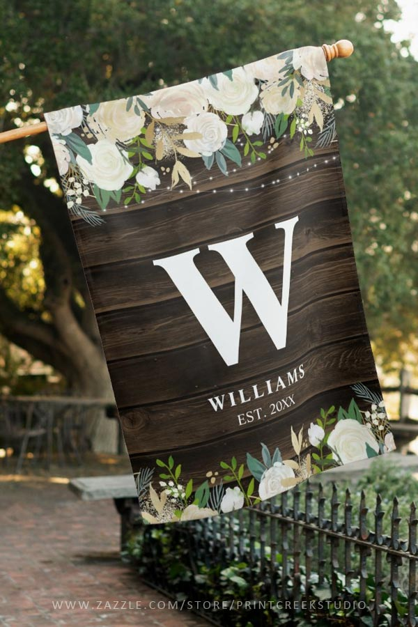 Rustic White Floral Personalized House Flag