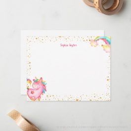 Kids unicorn personalized stationery flat note cards