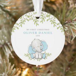 Modern Greenery Elephant Boy First Christmas Ornament