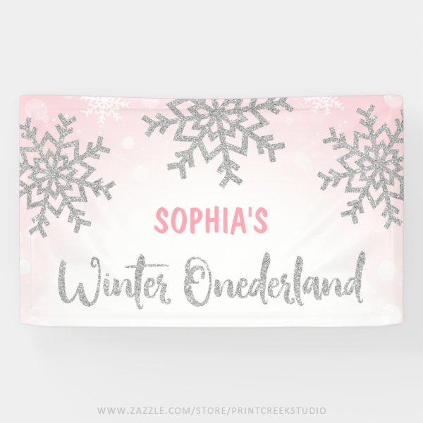 Pink Silver Winter ONEderland 1st Birthday Banner