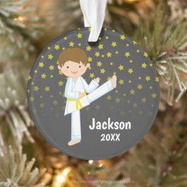 Taekwondo Yellow Belt Boy Personalized Ornament