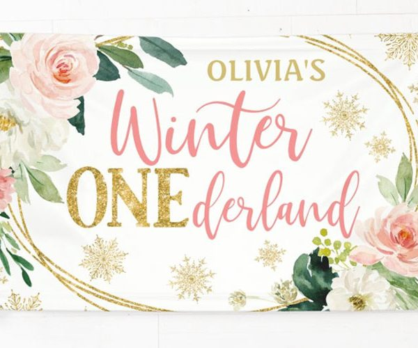 Cute Winter ONEderland Birthday Banners for a Girl