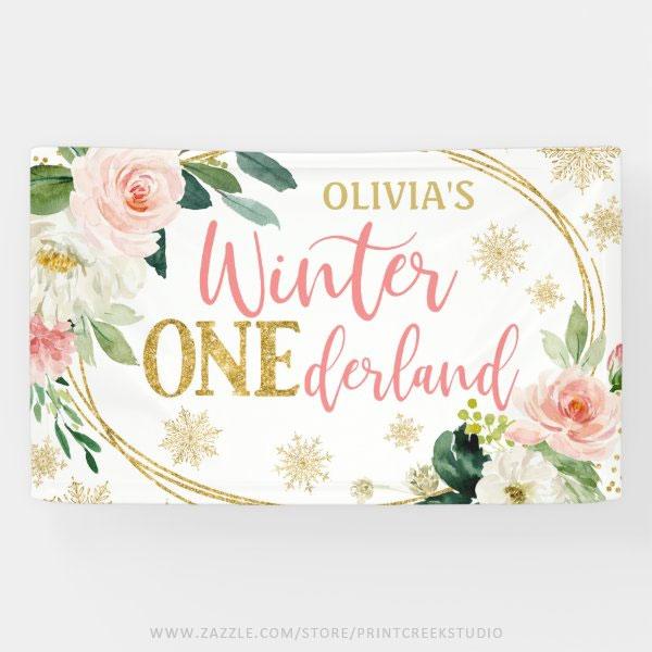 Winter ONEderland Gold Pink Floral Birthday Banner