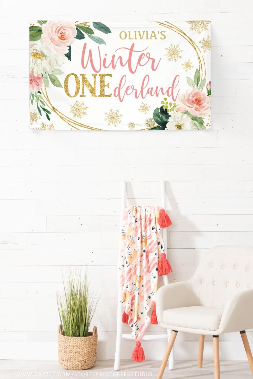 Winter ONEderland birthday banner for a girl 1st birthday.