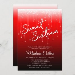 Modern Lights Red Black Sweet 16 Invitations